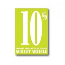 """Paquet de 100 étiquettes carton """"10%"""" L60 H85 mm"""