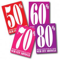 """Paquet de 100 étiquettes carton assorties """"50%-60%-70%-80%"""" L60 H85 mm"""