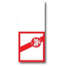 """Paquet de 250 étiquettes papier """"-30%"""" L52 H120 mm"""