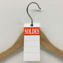"""50 étiquettes cintre """"SOLDES"""" L50 H140 mm"""