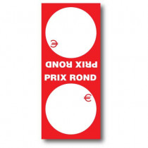 """Paquet de 100 étiquettes papier  """"PRIX ROND"""" double L52 H120 mm"""