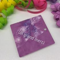 """Paquet de 50 étiquettes carton """"Un grand merci"""" L84 H84 mm"""