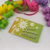 """Paquet de 50 étiquettes carton """"Bonne et heureuse retraite"""" L95 H60 mm"""