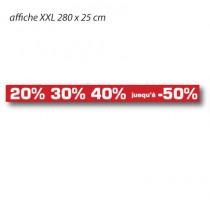"""Affiche """"20% 30% 40% jusqu'à -50%"""" XXL L280 H25 cm"""