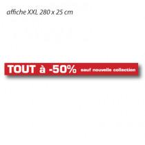 """Affiche """"TOUT à -50% sauf nouvelle collection"""" XXL L280 H25 cm"""