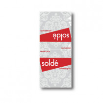 Paquet de 100 étiquettes papier  chevalet SOLDÉ baroque L60 H140 mm
