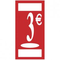 """Panneau """"3 €"""" L19 H38 cm"""