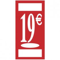"""Panneau """" 19 €""""  L19 H38 cm"""