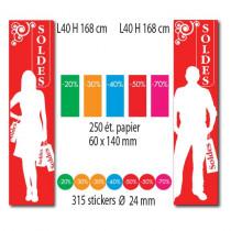 """Kit de 2 affiches""""SOLDES"""" 250 etiquettes et 315 stickers"""