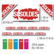 KIT 6 affiches SOLDES, 250 etiquettes papier