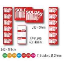 KIT 4 affiches SOLDES, 300 etiquettes papier et 315 stickers