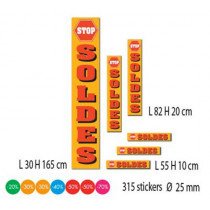 """Kit de 6 affiches """"SOLDES"""" et 315 stickers"""