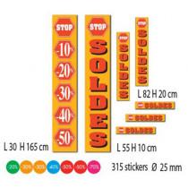 """Kit de 7 affiches """"SOLDES"""" et 315 stickers"""