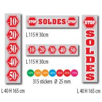 """Kit de 9 affiches """"SOLDES"""" et 315 stickers"""