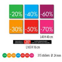 Kit de 7 affiches % et 315 stickers