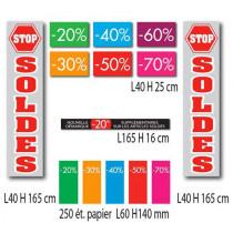 """Kit de 9 affiches """"SOLDES"""" et 250 etiquettes"""