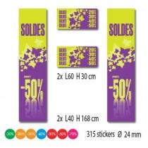 """Kit de 4 affiches """"SOLDES"""" et 315 stickers"""