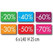 Kit de 6 affiches 20%30%40*50%60%70% L40 H 25