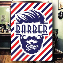 Sticker adhésif BARBER SHOP  L70 H100 cm