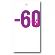 """Paquet de 100 étiquettes carton """"-60%"""" L50 H95 mm"""