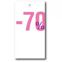 """Paquet de 100 étiquettes carton """"-70%"""" L50 H95 mm"""
