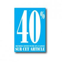 """Paquet de 100 étiquettes carton """"40%"""" L60 H85 mm"""