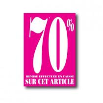 """Paquet de 100 étiquettes carton """"70%"""" L60 H85 mm"""