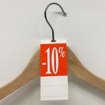 """50 étiquettes cintre """"-10%"""" L50 H140 mm"""