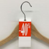 """50 étiquettes cintre """"-40%"""" L50 H140 mm"""