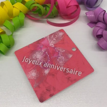 """Paquet de 50 étiquettes carton """"Joyeux Anniversaire"""" L84 H84 mm"""