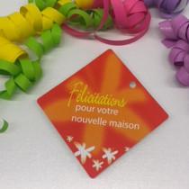 """Paquet de 50 étiquettes carton """"Félicitation pour votre nouvelle maison"""" L84 H84 mm"""