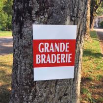 """Panneau  """"GRANDE BRADERIE""""  L38 H50 cm"""