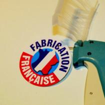"""Paquet de 50 étiquettes carton pelliculé  """"FABRICATION FRANÇAISE"""" L80 H80mm"""
