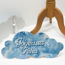 """Chevalet nuage """"JOYEUSES FÊTES"""" L40 H20 cm"""