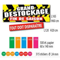 Kit de 2 affiches GRAND DESTOCKAGE 500 étiquettes et 315 stickers